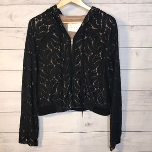 ALC Lace Overlay Hoodie Jacket Black and Nude L